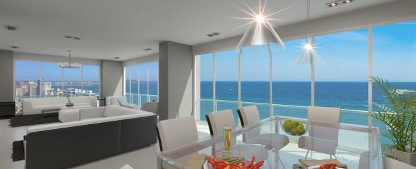 4 dormitorios Departamento en venta frente al mar. Salinas, Ecuador. Por estrenar